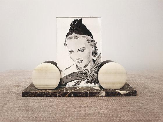 Grey & White Disc Marble Photo Frame