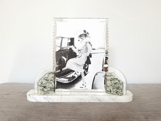 White & Blue Veined Marble Photo Frame