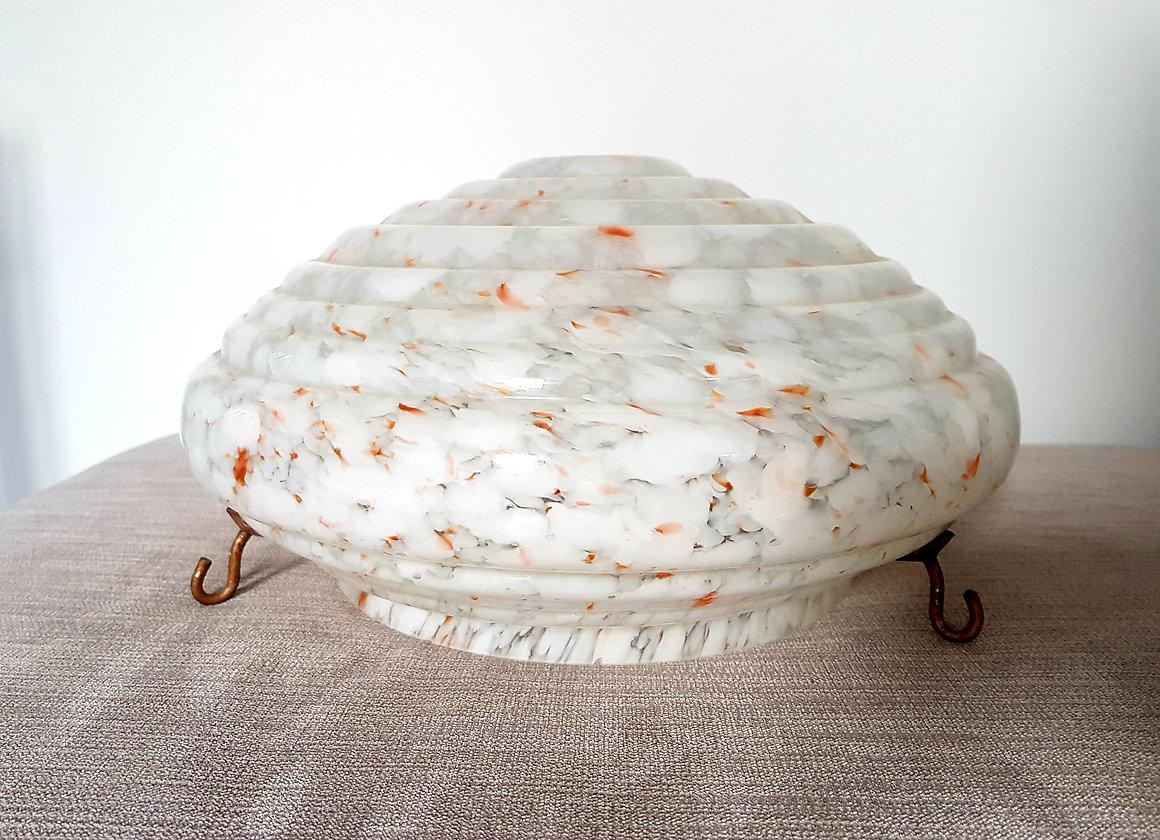 White Amp Orange Flecked Ceiling Light Shade Annas Art Deco