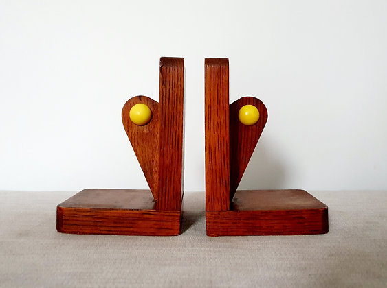 Wooden & Yellow Sphere Bookends