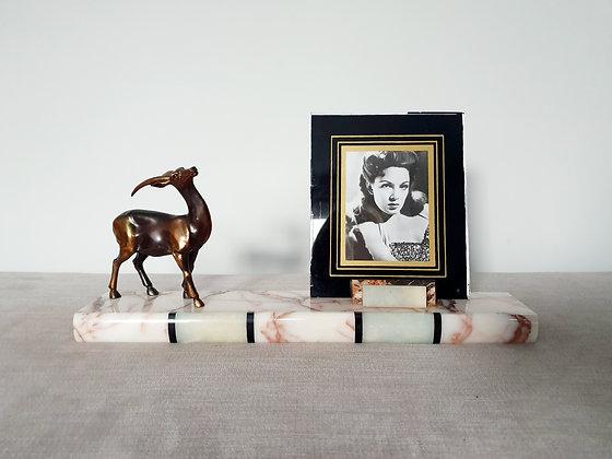 Spelter Gazelle Marble Photo Frame