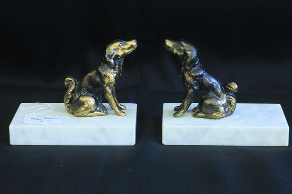 Pair of Brass Hound & Marble Bookends