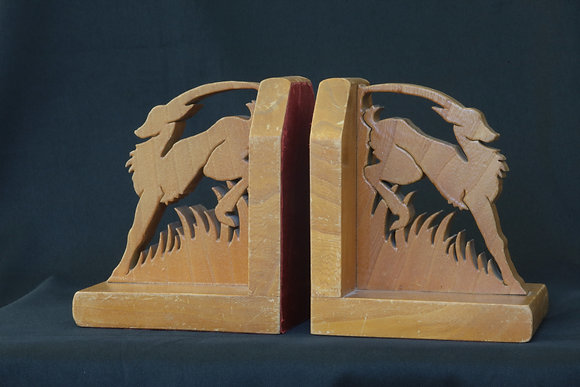 Wooden Stag Bookends