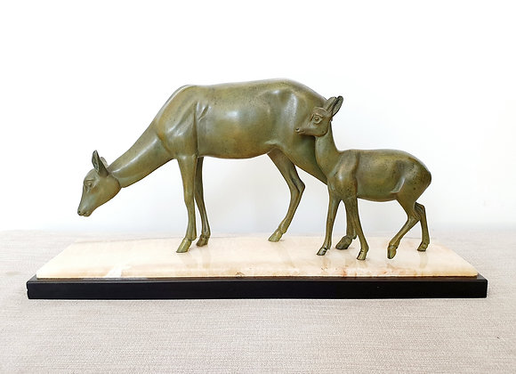 Deer & Fawn on Marble Base