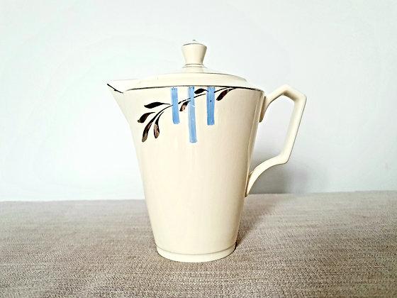 Cream, Blue & Silver Teapot