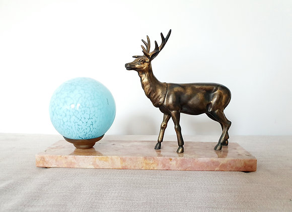Stag Marble Lamp with Blue Shade