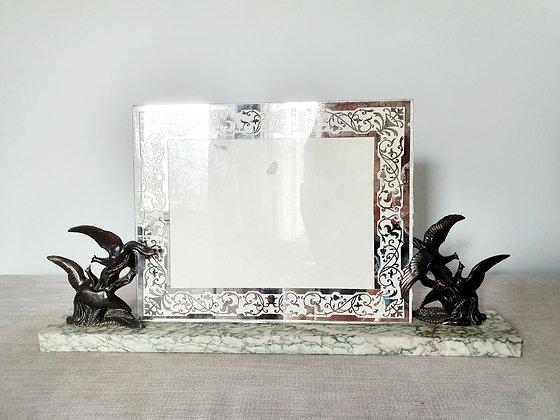 Large Spelter Birds Marble Photo Frame