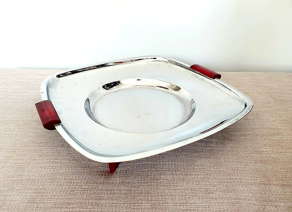 Chrome Tray with Red Bakelite Handles