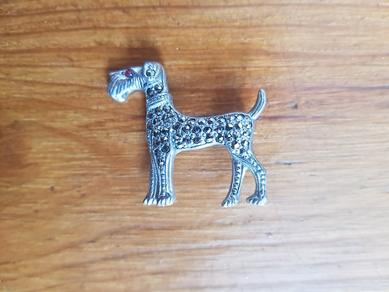 Marcasite Dog Brooch