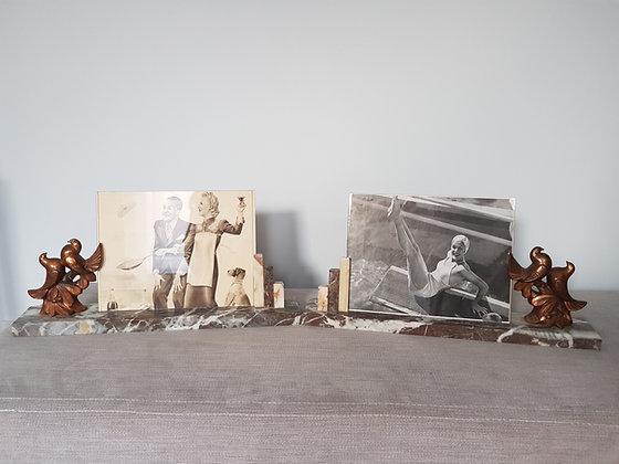 Pair of Gilt Birds Marble Photo Frames