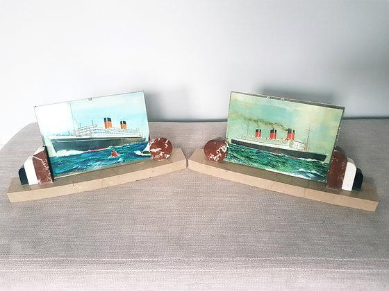 Pair of Tri Coloured Marble Photo Frames
