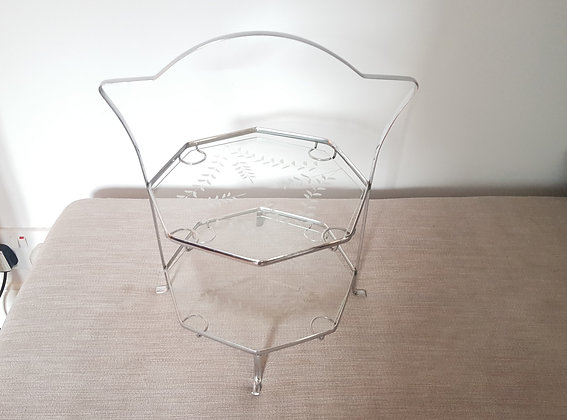 Glass & Chrome Two Tier Cake Stand
