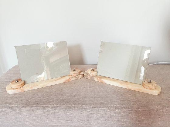 Pair of Cream Marble Photo Frames