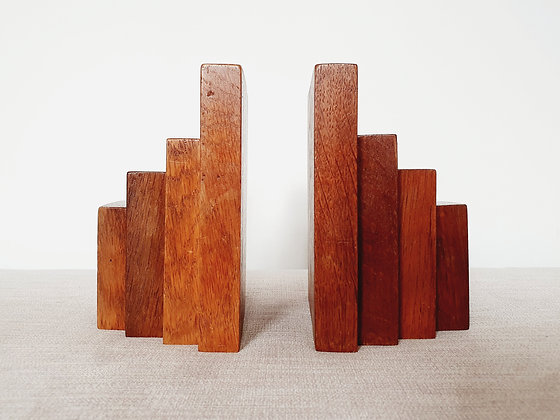 Oak Stepped Bookends