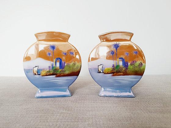 Pair of Circular Noritake Vases