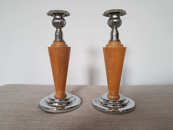 Pair of Chrome & Wood Candlestick Holders
