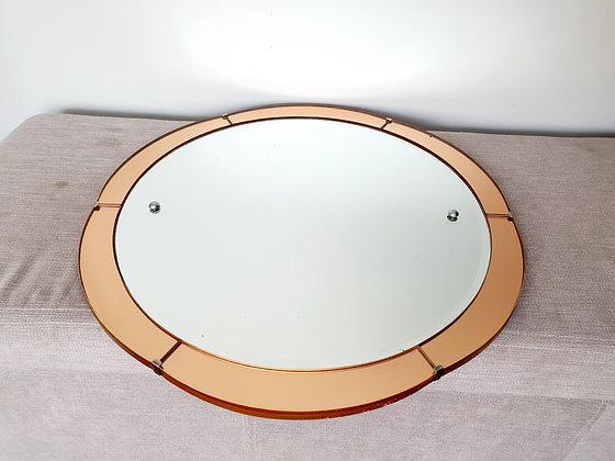 Art Deco Peach Glass 1930s Mirror Circular
