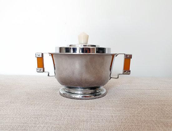 Art Deco Chrome Sugar Bowl