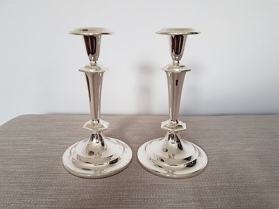 Pair of Chrome Candlestick Holders