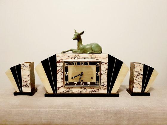 Deer Marble Clock Garniture