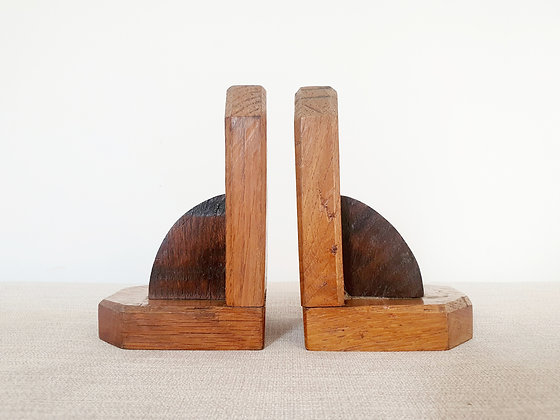 Pair of Wooden Curved Bookends