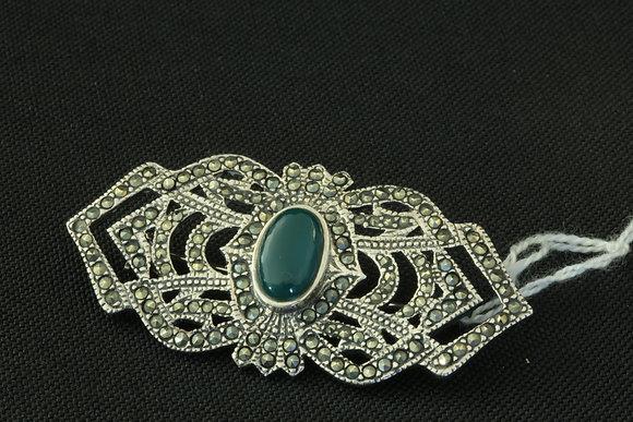 925 Silver & Green Stone Brooch