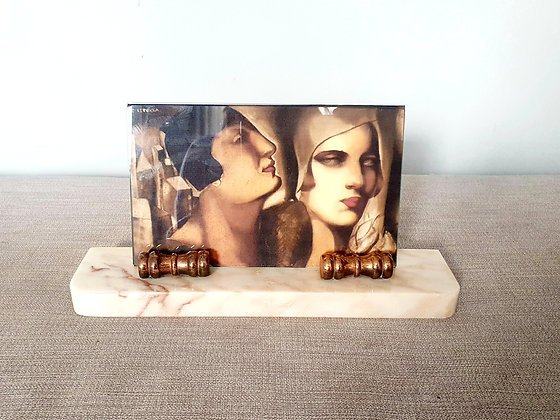 Brass Scrolled Marble Photo Frame