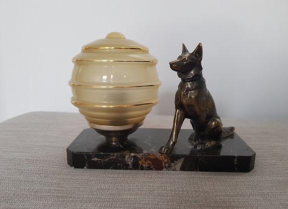 Spelter Alsatian Lamp