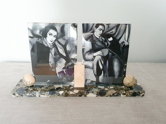 Grey/Pink Double Marble Photo Frame