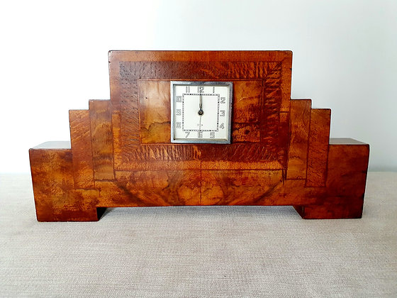 Burr Walnut Stepped Clock