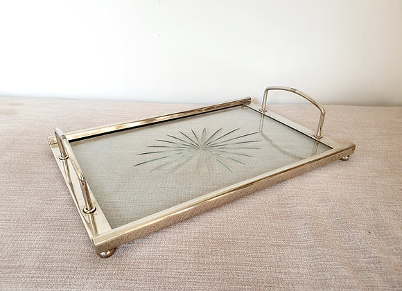 Cut Glass & Nickel Plated Cocktail Tray