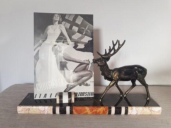 Spelter Stag & Marble Photo Frame