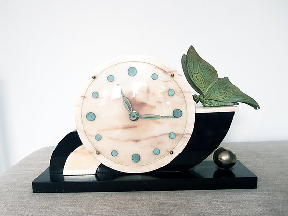 Butterfly Marble Mantle Clock