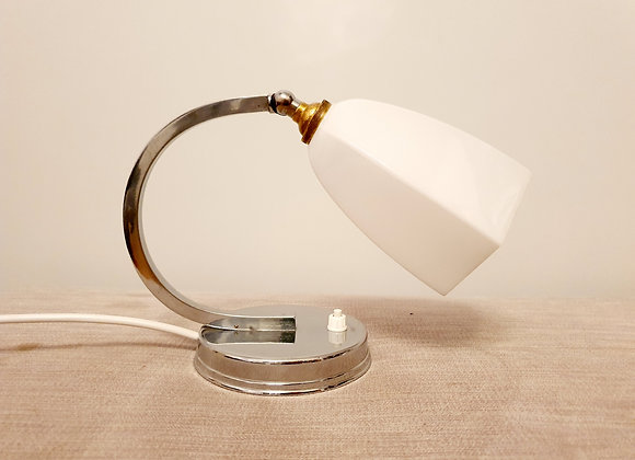 Chrome Crescent Lamp with Opaline Shade