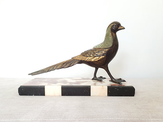 Painted Pheasant on Marble Base