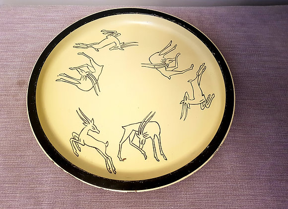 Yellow Tray with Gazelles