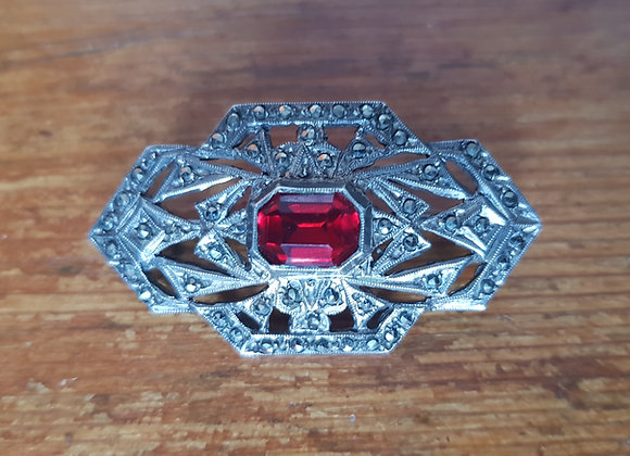 Silver, Marcasite and Paste 1920s Brooch