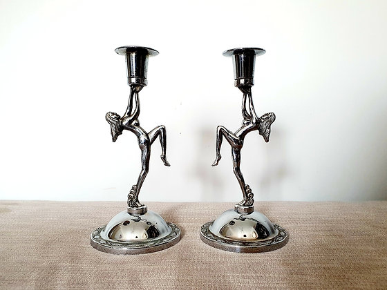 Chrome Lady Candlestick Holders