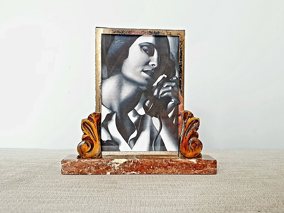 Wooden Scroll Marble Photo Frame