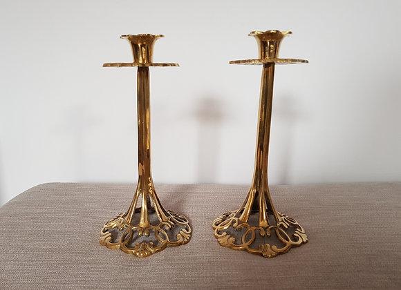Pair of Art Nouveau Brass Candlestick Holders