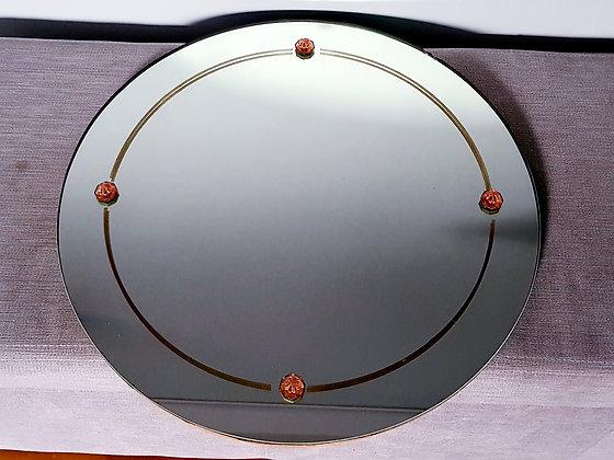 Circular Mirror with Peach Embellishments