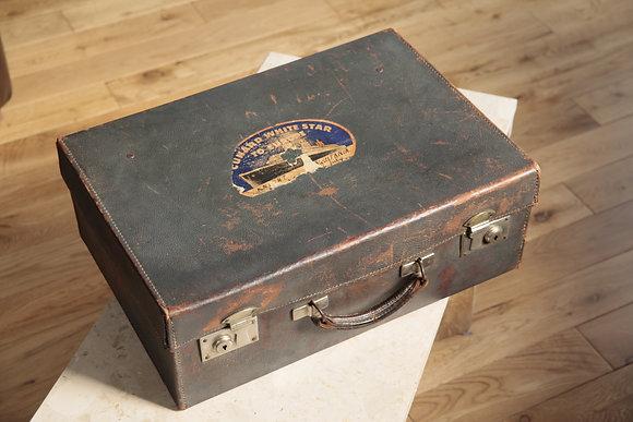 1930s Leather Suitcase with Cunard Aquitania Label