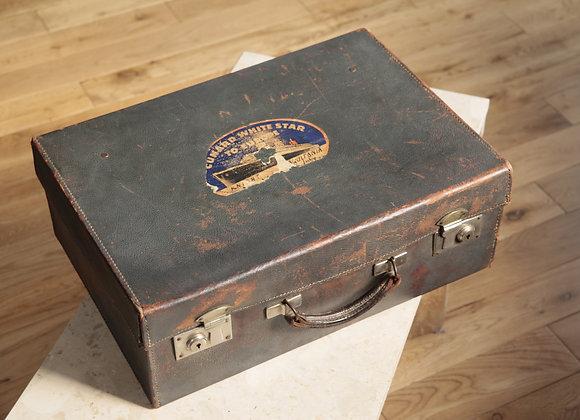 1930s Leather Suitcase with Cunard Aquitania Label