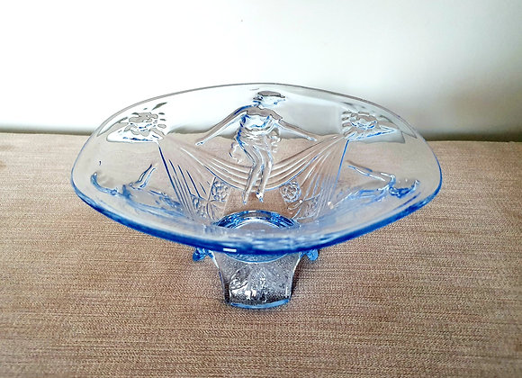 Seated Lady Blue Glass Bowl