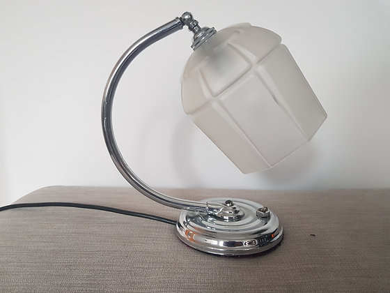 Chrome Desk Lamp with Frosted Shade