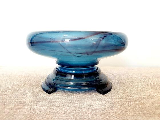 Davidson Blue Cloud Glass Bowl on Plinth
