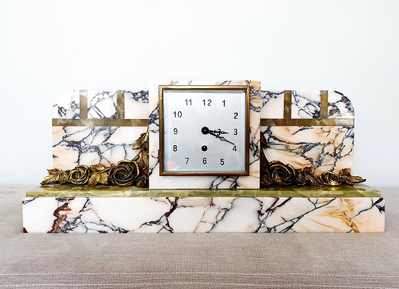 Marble Mantel Clock with Gilt Flowers
