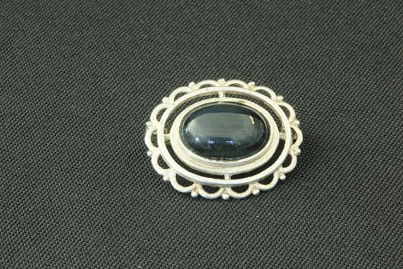 Hallmarked Silver & Obsidian Brooch