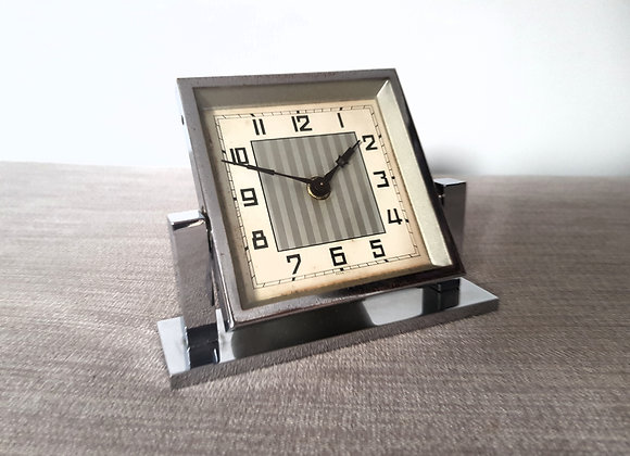 Chrome Square Bedside Clock