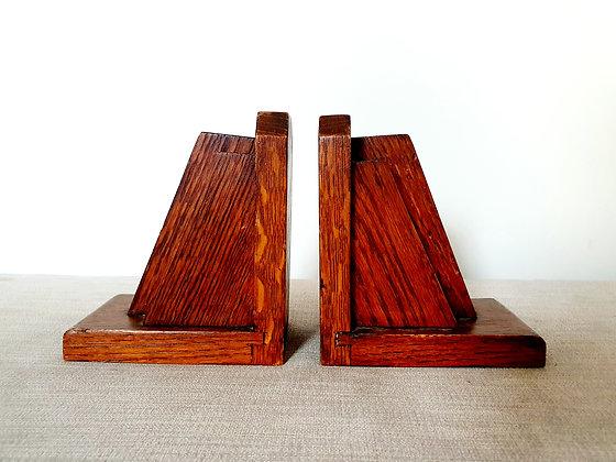 Wooden Oak Bookends